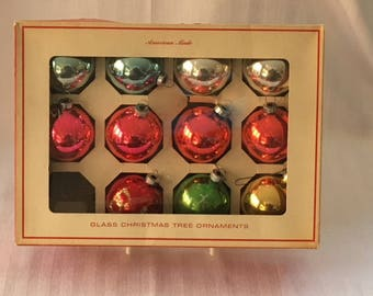 Vintage Christmas Ornaments Box of 11 assorted Sears 1960's or 70's