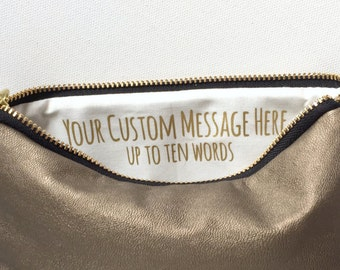 Gold Makeup Bag w. Custom Message. Gift for Her Under 50. Vegan Leather