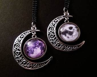 Full moon necklace - crescent moon necklace - gothic necklace - goth jewelry - nu goth