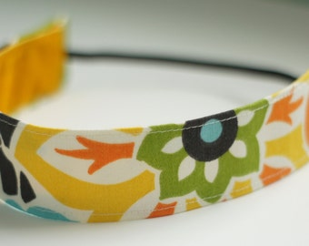 Multi Color Floral Fabric Headband (Non Slip Velvet Lining)