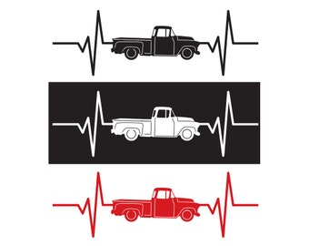 1957 Chevy / Chevrolet Pickup Truck Heartbeat Decal / Sticker - IDS-078