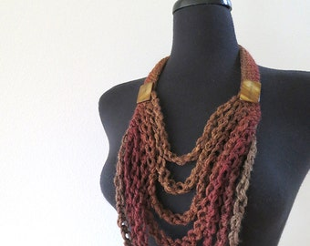 FREE US SHIPPING - Brown Hazelnut Sienna Dark Taupe Coffee Cacao Color Statement Crochet Necklace Lariat Bib with Shell Beads