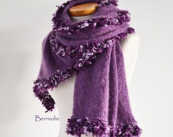 Purple knitted shawl with fun trim, M127