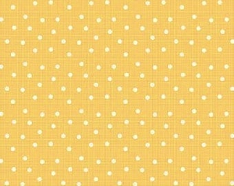 Pam Kitty Love, Lakehouse Dry Goods, Dots on Check in Yellow LH11016Y - 1 Yard Sale
