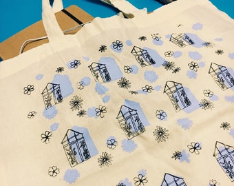 Green House Pattern Tote Bag   Bag for life   Shopping  Bag   Handmade Gift  Patterned Bag