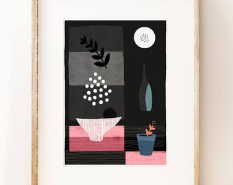 Modern still life art print 'Night Hours III'. Graphic art print, modern gallery wall art