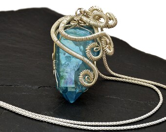 Aqua Blue Necklace, Pendant Necklace, Sterling Silver Necklace, Crystal Point Necklace, Wire Wrap Pendant, Statement Silver Necklace