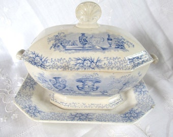 JUST REDUCED Antique 1840's Early Victorian,Pre Civil War, Blue And White Transferware Sauce Tureen With Underplate Staffordshire Now 224.99