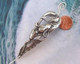 Silver Shawl Pin, Flower Scarf Pin, Lily Hair Slide, flower shawl pin, oxidized, floral, silver filled, spring fashion, leaf, garden