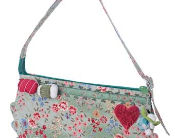SHIBUYA SUSHIBAG bag in Japanese fabric with fabric applications/handmade bag in Japanese fabric