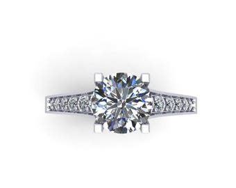 Round forever brilliant moissanite center and diamonds engagement ring in white gold,style166WDM