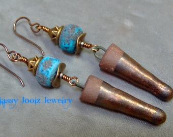 Rustic Lampwork and Ceramic Stoneware Beaded Earrings-Organic Artisan Earrings-Artisan Lampwork Dangle Earrings-SRAJD-Artisan Ceramic Beads