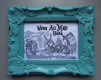 Framed Embroidered Mad Hatters Tea Party Alice in Wonderland Design Wall Art Hanging