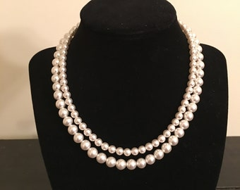 Vintage Japan Pearl Rhinestone Necklace Prom Wedding