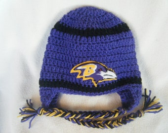 Crocheted Raven's Inspired in Team Colors or (Choose your team)  Football Helmet Baby Beanie/hat - Made to Order - Handmade by Me