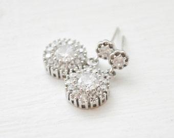 Small CZ Wedding Earrings, Tiny CZ Bridal Earrings, Wedding Jewellery