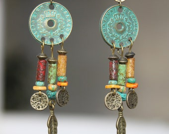 Boho Earrings Bohemian Earrings Boho jewelry Bohemian Jewelry Chandelier Earrings Gypsy Ethnic Earrings Turquoise Brass Gift for women