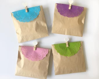 paper dollies - 4.5 inches dollies  - lace paper embelishment - green dollies - blue dollies - pink dollies - purple dollies - set of 10