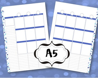 Blank A5 Printable Planner Pages Week spread vertical box style, Purple & Teal