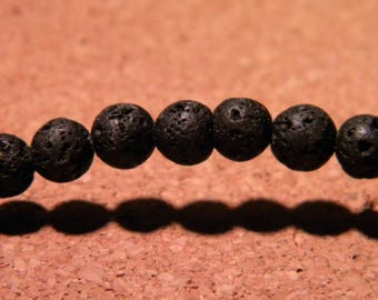 10 Pearl 6 mm - black - gem stone PG11 natural lava