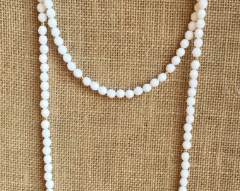 Double wrap necklace, White faceted beaded necklace, Boho beaded necklace, 8mm wrap necklace
