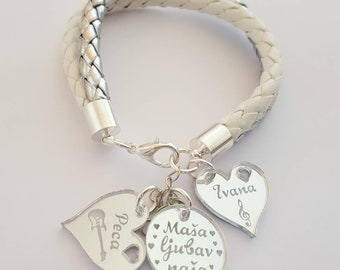Silver white everyday bracelet with personalized charms, Bracelet with engraved pendants
