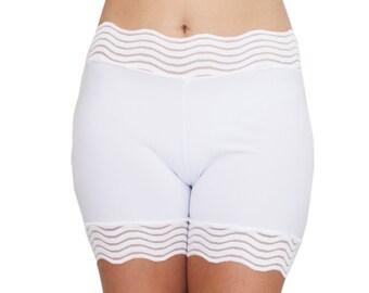 Dentelle blanche Biker Shorts sous-vêtements mariée modestie robinet pantalon Short Stretch Scrundies dentelle de mariage robe de glissement Anti Chafe Shortie