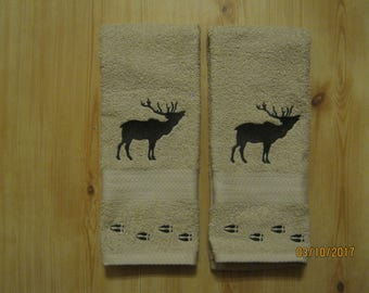 NEW 2 Silouette ELK with Tracks Tan Hand Towels, Lodge Cabin Decor, Northwoods