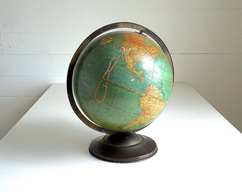"Vintage Globe Replogle 12"" Antique Standard Globe World 12 Inch Chicago Blue Ocean"