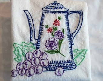 Dish Towel with Hand Embroidery, Teapot with fruit, Kitchen Towel, Old Fashion Dish Towel, Kitchen Dish Towel, Retro Kitchen