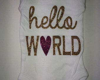 Personalized HELLO WORLD Onesie