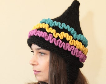 Hand Knit with Motley Ruffles by Solandia, Pointed tribal inspired women children Christmas Gift