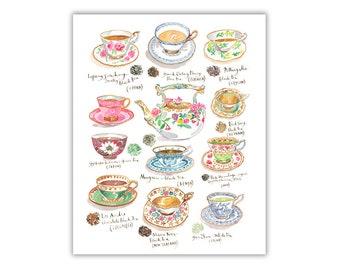 Watercolor tea poster, Colorful kitchen decor, Teas of the world, Tea cup print, Kitchen art, Types of teas print, Tea gift