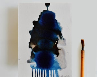 Original abstract art ink drawing, tree art, river, water fall, nature abstract art, art, ink art, blue abstract, ink painting, abstract art