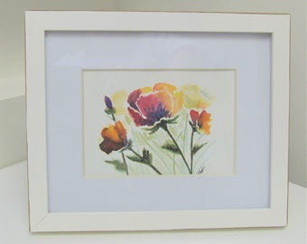 Original Watercolour Poppies Multi Colour Framed Painting