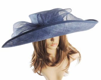 Navy Big Sinmay Hat for Kentucky Derby, Weddings, Ascot, Garden Parties