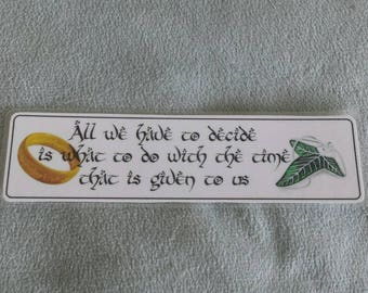 Laminated bookmark inspired by Lord of the Rings