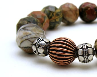 Picasso Jasper Modern Beaded Bracelet Sterling Silver and Copper  Stretch Modern Unisex Under 100