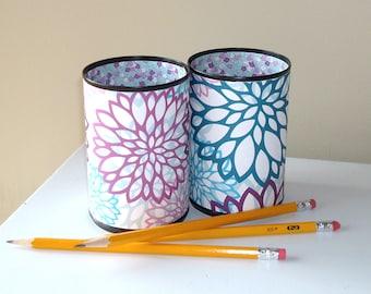 Purple and Teal Dahlia Floral Desk Accessories for Woman, Pencil Holder Cup, Desk Organizer, Makeup Brush Holder, Fun Dorm Decor 1097