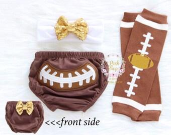 Baby Football Bloomer, Baby Football Leg Warmer, Baby Headband, Baby Bloomers, Baby Diaper Cover, Baby Legwarmer, Baby Sequin Bow, Baby gift