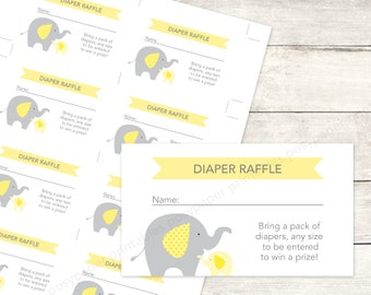 baby shower diaper raffle tickets printable DIY elephants yellow grey cute baby digital shower games - INSTANT DOWNLOAD
