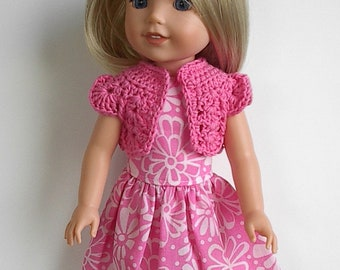 """14"""" Doll Clothes Sleeveless Cotton Dress with Pink Flowers and Crocheted Pink Bolero Handmade to fit 14.5"""" Wellie Wishers and Other Dolls"""