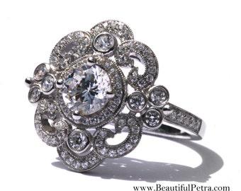DUCHESS - Platinum Art Deco setting - Diamond Engagement Ring or Right Hand ring SEMI-MOUNT- Weddings- Luxury- Brides - BP0011