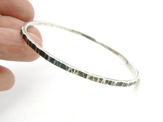 Vintage Handmade Skinny Sterling Silver Bark Textured Bangle Bracelet