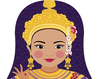 Thai Wall Art Print featuring culturally traditional dress drawing in a Russian matryoshka nesting doll shape