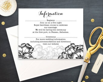 Info Cards Printable, Black and White Information Card, Flowers Direction Card digital, Floral Detail Card Wedding Editable INSTANT DOWNLOAD