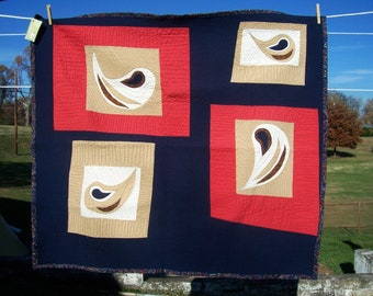 SALE Paisley Toddler Art Quilt - Playmat in Red Tan Cream Navy Blue OOAK