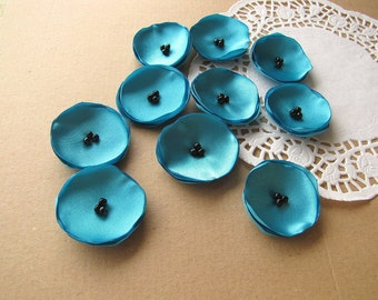 Satin fabric sew on mini flower appliques, small fabric flowers, tiny flower appliques, diy wedding decor (10pcs)- TURQUOISE BLUE POPPIES