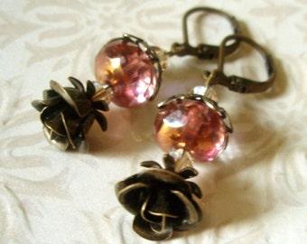 SALE - Vintage Inpired Earrings - Antiqued Brass Rosette Jeweled Golden Pink Czech Glass and Swarovski Crystal Beaded Dangle Earrings