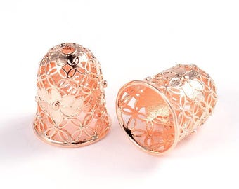 2pcs Rose Gold Plated Filigree Brass Bead Caps Tassel Caps Bead Cones